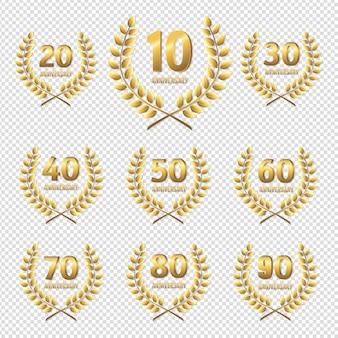 Set di anniversario icona dorata sfondo trasparente