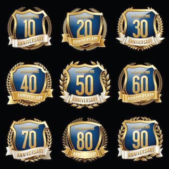 Set di emblemi isolati anniversario.