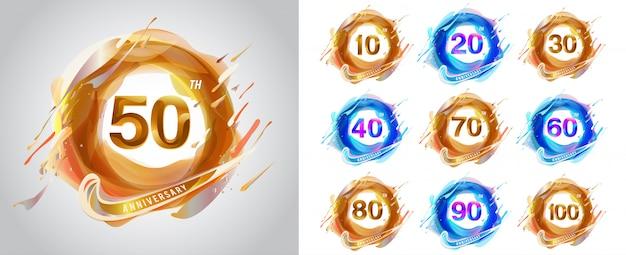 Set di logo dell'anniversario, modello di anniversario per web, gioco, poster creativo, opuscolo, opuscolo, volantino, rivista, carta di invito - vettoriale