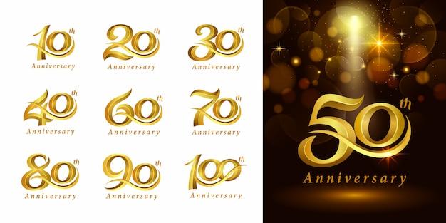 Set di design logotipo anniversario, elegante logo classico, lettere serif vintage e retrò
