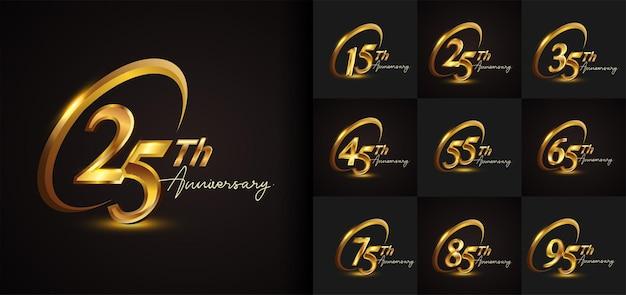Set di design del logo dell'anniversario con anello dorato e colore dorato della scrittura a mano per eventi celebrativi, matrimoni, biglietti di auguri e inviti. illustrazione vettoriale.