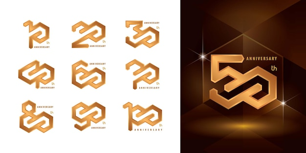 Set di design del logotipo di anniversario