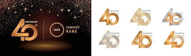 Set di logotipo di anniversario, celebrazione di anniversario di quarant'anni.