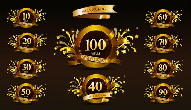 Set di logotipo anniversario e nastro d'oro. disegno dell'emblema celebrazione anniversario d'oro