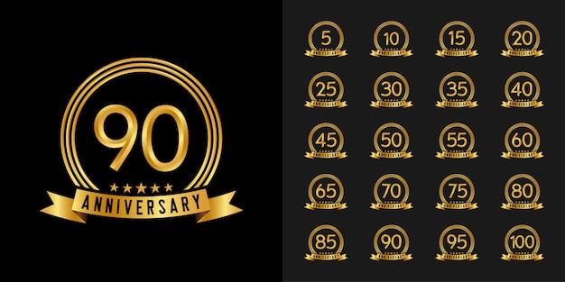 Set di logotipo di anniversario. disegno dell'emblema di celebrazione anniversario d'oro.