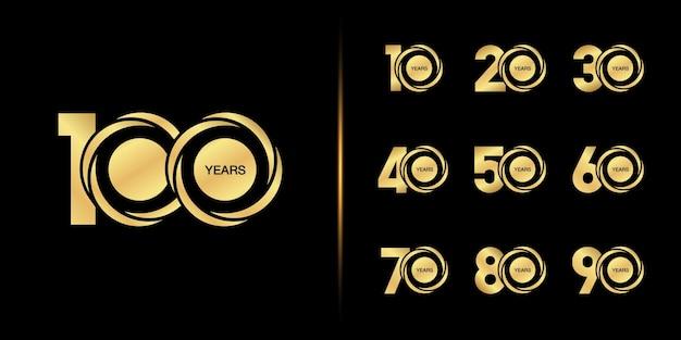 Set di logotipo di anniversario. celebrazione dell'anniversario d'oro.