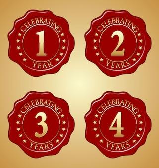 Set di sigillo di cera rossa anniversario Vettore Premium