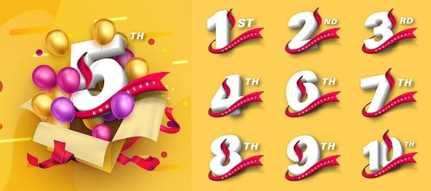 Set di disegno del modello di anniversario