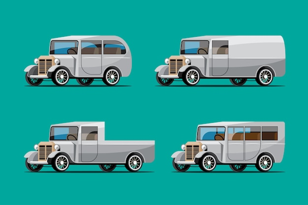 Set di auto d'epoca in stile retrò su verde