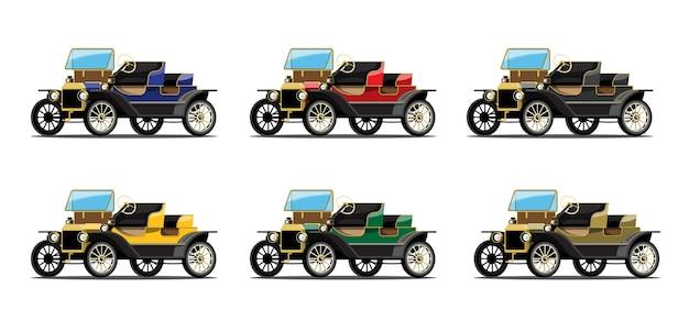 Set di auto d'epoca in stile retrò su bianco