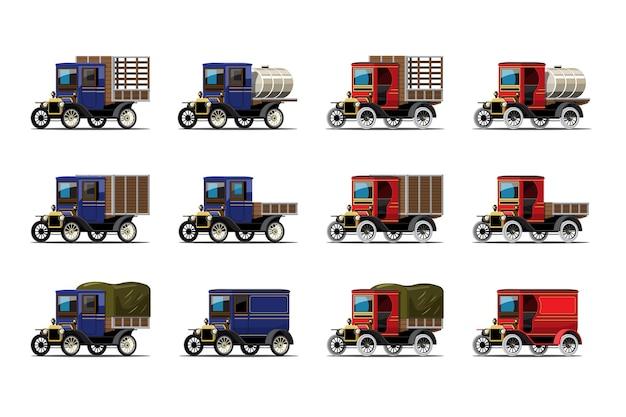 Set di auto d'epoca con vecchio design vintage camion su bianco