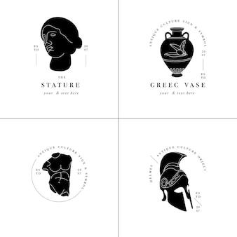 Set di loghi antichi: statue, anfore e elmo. antichi elementi in stile greco o romano.