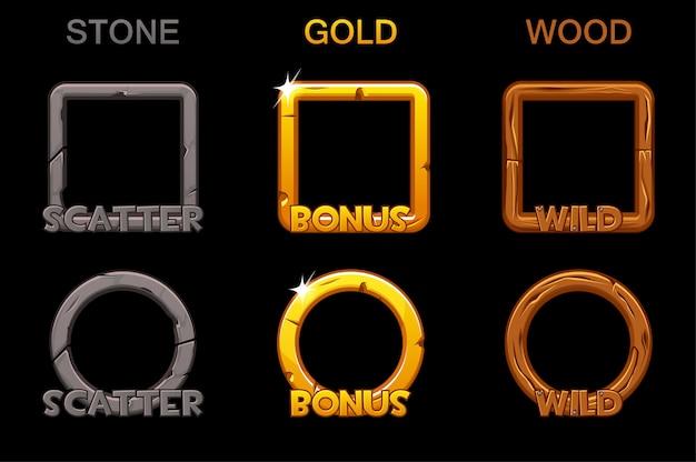 Imposta le icone della cornice dell'app per le slot di gioco. quadrati e tondi oro, cornici in legno di pietra.