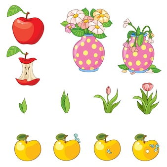 Set di mele e fiori.