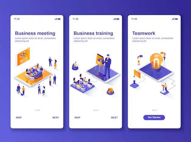 Set di applicazioni riunione d'affari isometrica