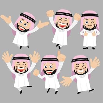 Set di caratteri arabi in diverse pose