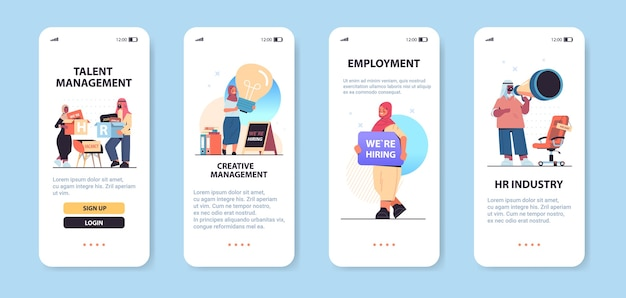 Set arabo hr manager posto vacante reclutamento aperto risorse umane gestione creativa concetto smartphone schermi raccolta orizzontale copia spazio figura intera illustrazione vettoriale