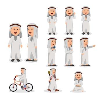 Insieme dell'illustrazione araba del fumetto di vettore del bambino
