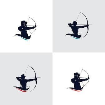 Set di design del logo del tiro con l'arco