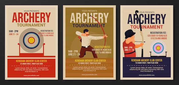 Set di modello di volantino torneo di tiro con l'arco