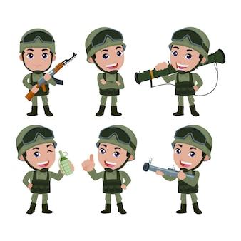 Set di soldati dell'esercito uomo in uniforme con azione di differenza