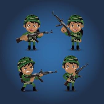 Set di soldati dell'esercito in uniforme con azione di differenza