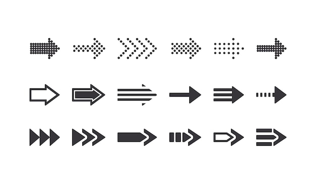 Set di segni di freccia, elementi di design grafico di icone di riavvolgimento per la navigazione del sito web, simboli del cursore e pittogrammi remoti