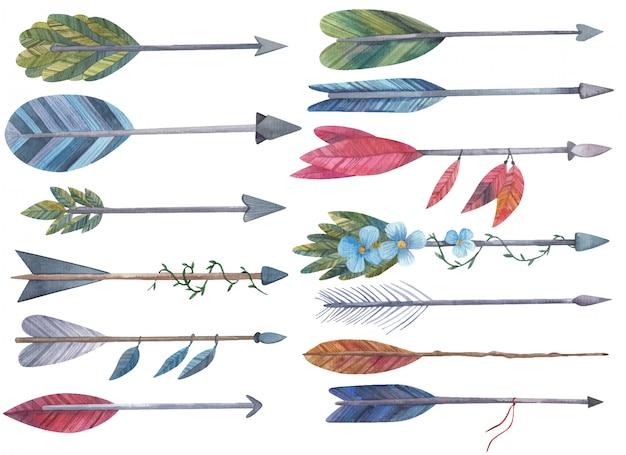 Insieme delle frecce per l'arco con l'illustrazione dell'acquerello delle foglie e dei fiori su un fondo bianco