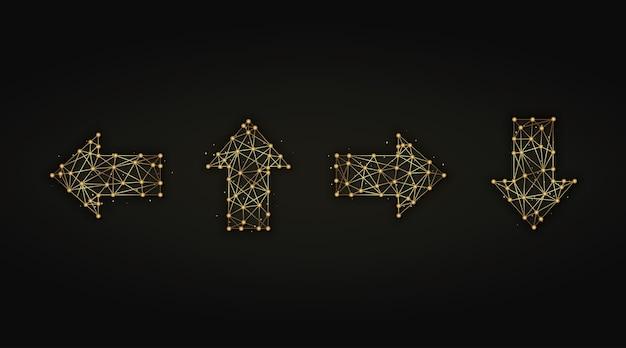 Insieme dell'illustrazione astratta dorata delle frecce