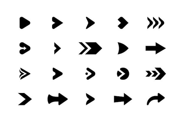Insieme della raccolta di vettore isolato dell'icona delle frecce