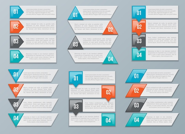 Set di opzioni frecce per dati, informazioni e diagramma, grafico, grafico. illustrazione vettoriale