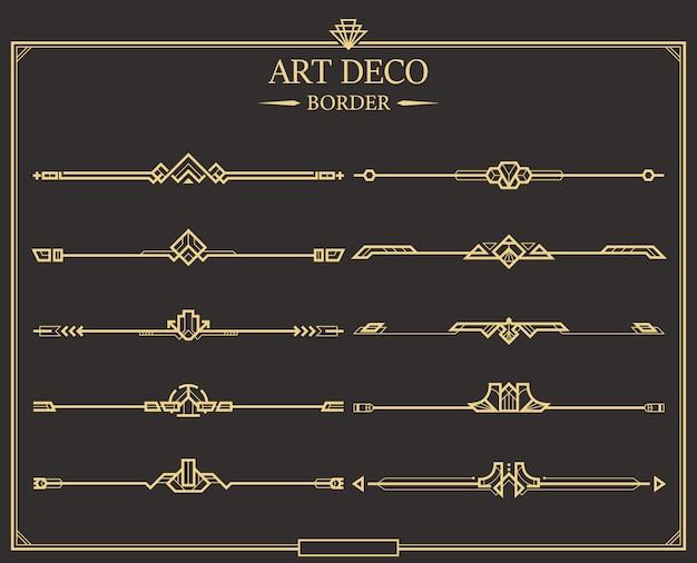Set di divisori di pagina calligrafica oro art deco. Vettore Premium