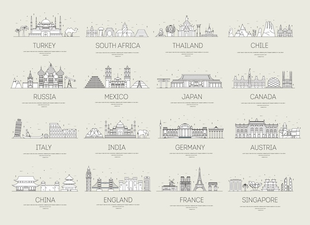 Set di viaggi ornamentali d'arte e architettura.