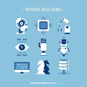 Set di elementi di intelligenza artificiale in design piatto