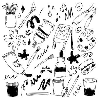 Un set di strumenti artistici nello stile del doodle.