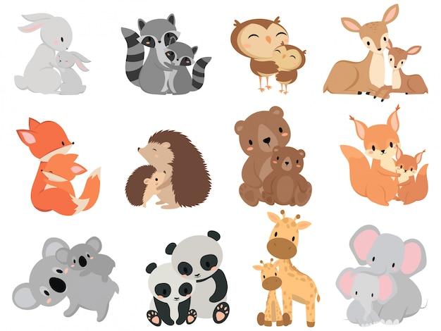 Set di animali del fumetto con il suo bambino. collezione di animali domestici della famiglia simpatici animali del bambino.