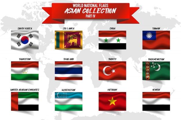 Set di bandiera nazionale del paese asiatico su sfondo di mappa del mondo.