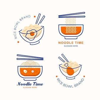 Set di modelli di design del logo di cucina asiatica, marchio o ristorante