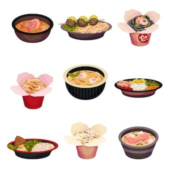 Set di cibo asiatico isolato su bianco
