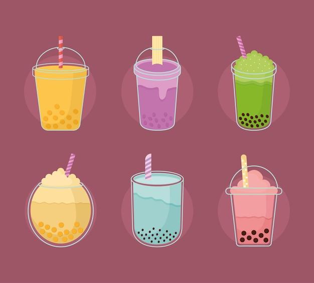 Set di bevande taiwanesi asiatiche