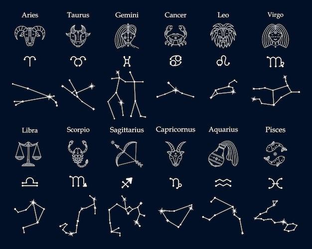 Set di simboli astrologici dell'illustrazione dello zodiaco e delle costellazioni