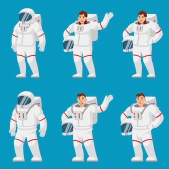 Set di astronauti in diverse pose. persone di sesso maschile e femminile in stile cartone animato.