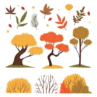 Set di alberi e cespugli autunnaliillustrazione del libro foresta autunnalecaduta sul prato