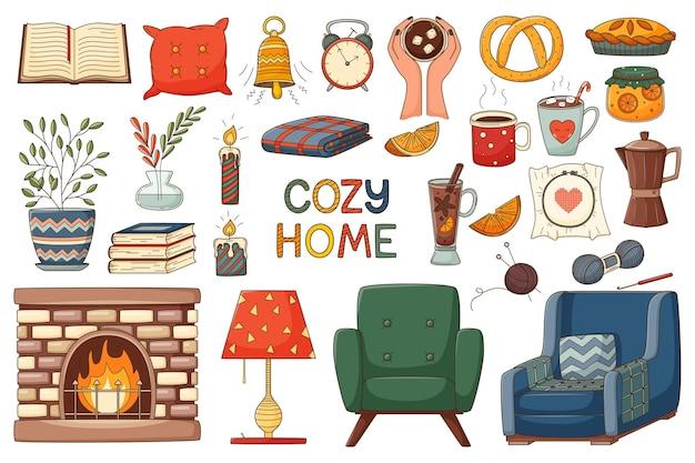 Un insieme di elementi autunnali. casa accogliente, abbraccio. una collezione di design di elementi scarabocchi colorati Vettore Premium