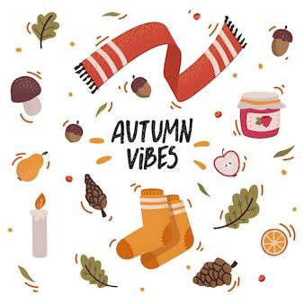 Set di icone autunnali con ghiande, coni, foglie che cadono e scritte. raccolta di album di elementi della stagione autunnale. biglietto di auguri d'autunno