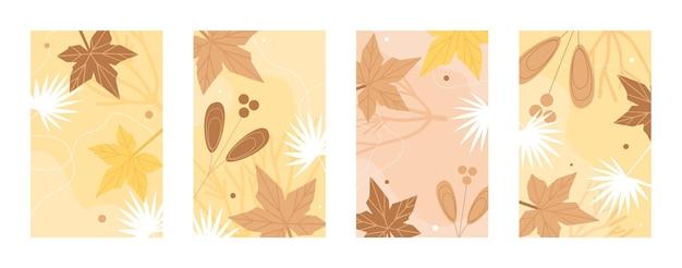 Set di modello modello di foglie di autunno
