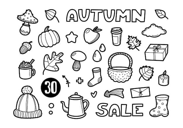L'insieme delle icone di lineart di autunno scarabocchia la raccolta dell'elemento isolata su fondo bianco lettering di vendita
