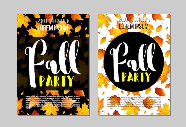 Set di modello di volantino festa d'autunno con scritte, foglie d'arancio. poster, banner, biglietti, etichette e altri design. illustrazione vettoriale.