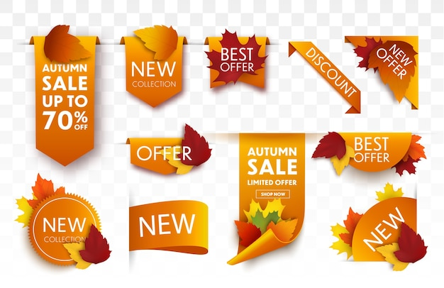 Set di tag di vendita autunnali con foglie di autunno. banner di vendita.