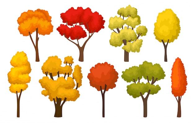Insieme di alberi di autunno con foglie luminose. piante forestali per gioco mobile. tema della natura